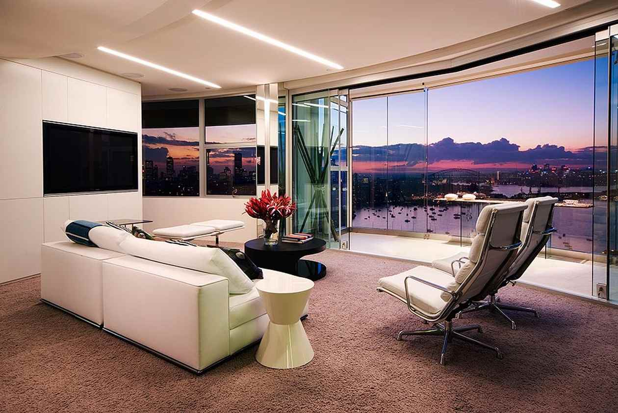 Elegant Living Room Studio Apartment With Modern Sofa and Table
