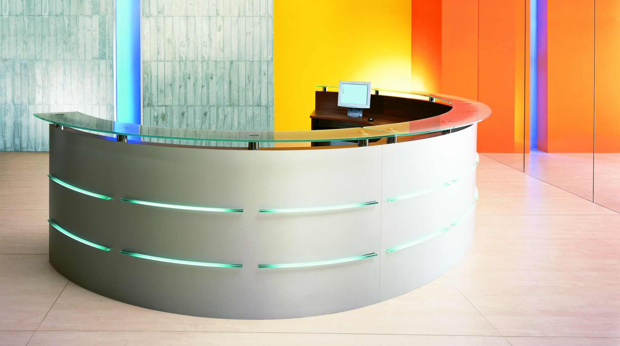 Entiching Design of Semi Circle Contemporary Office Desk With Glass Top