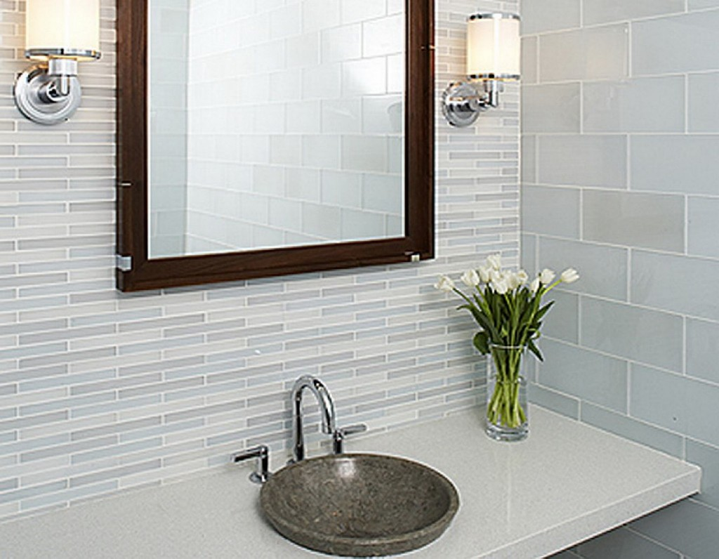 Enticing Backspach Bathroom Tiles Designs also Mirror Between Wall Lamps