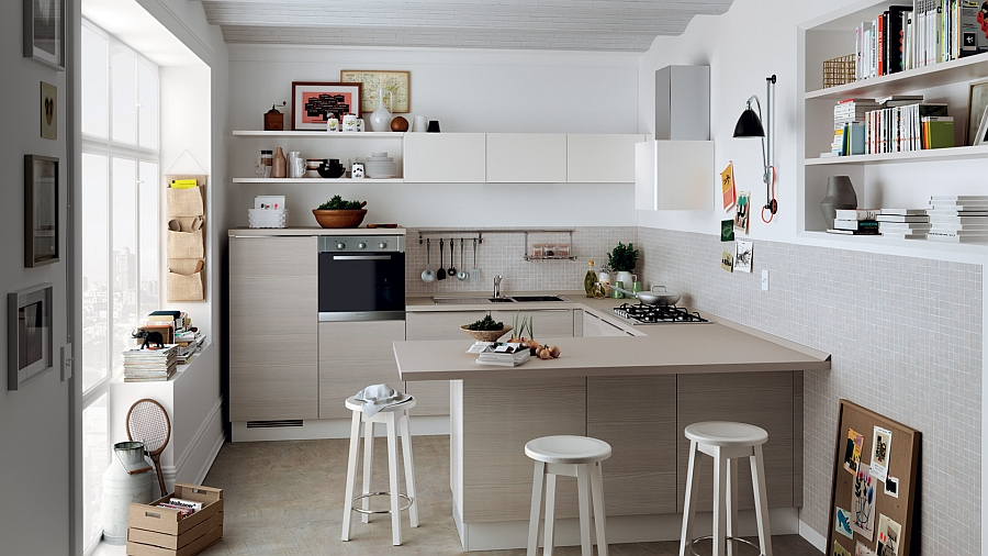Enticing Shelves and U Shape Cabinet Plus Stool For Kitchen Layout Planner