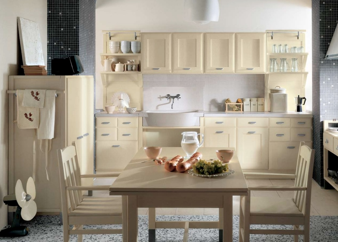 Excellent Country Style Kitchen Decor With Cabinet also Dining Table and Chair