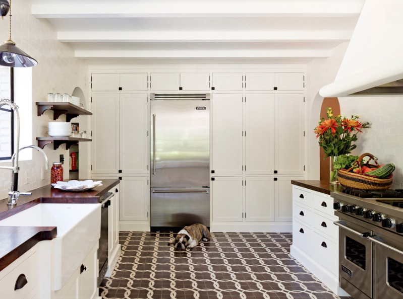 Fabulous Kitchen Using Cabinet also Chic Tile Floor Patterns Decor