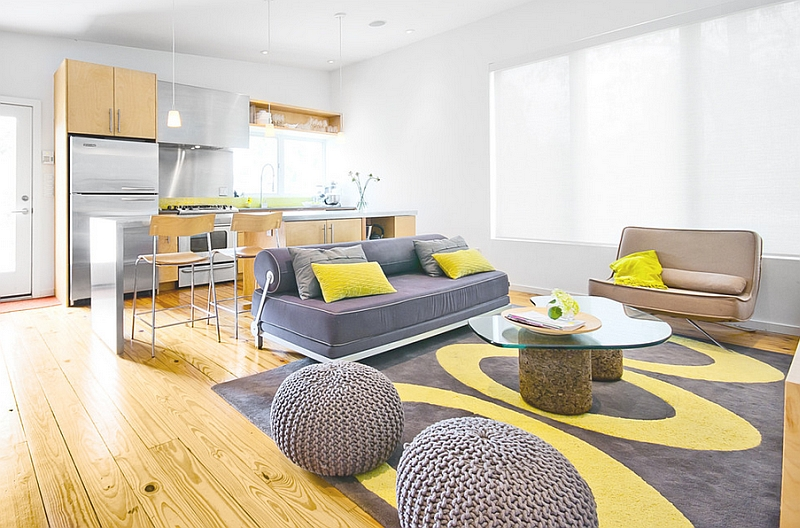 Fabulous Living Space With Grey and Brown Sofa also Yellow Pillows