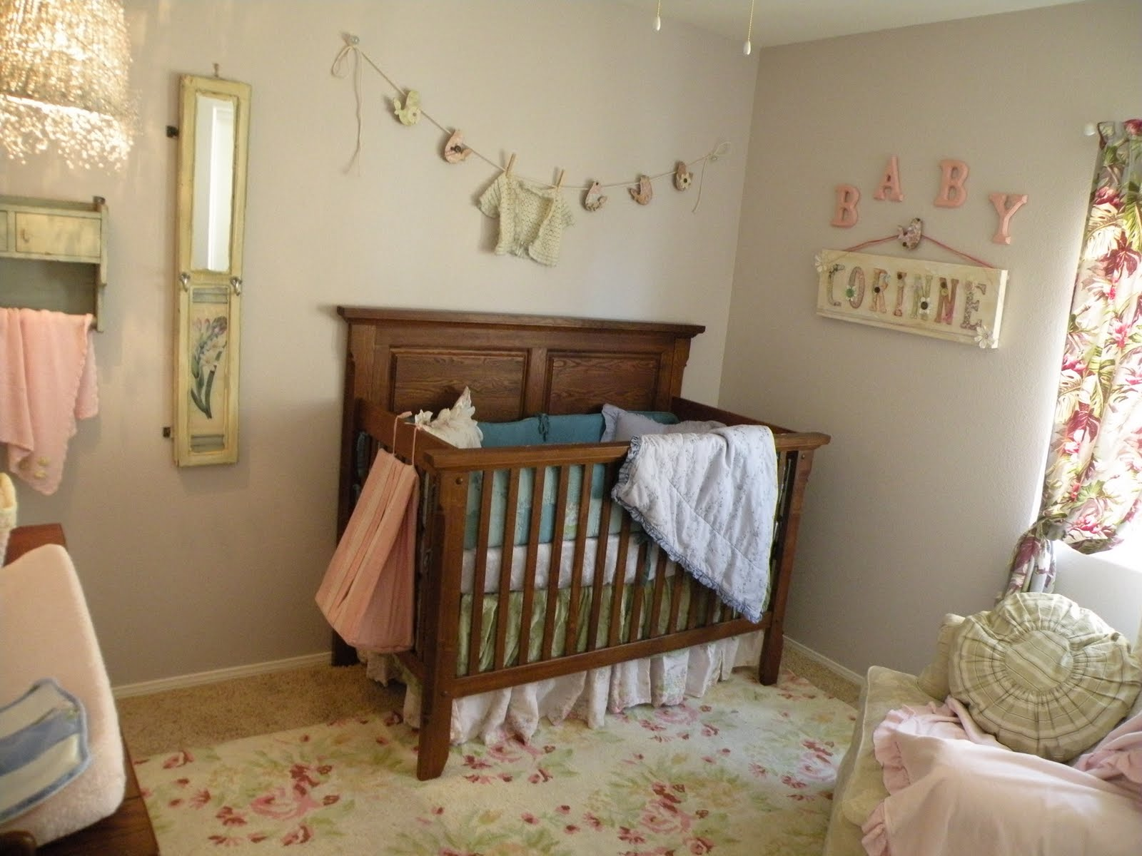Fabulous Nursery Room With Brown Wooden Crib also Chic Wall Decor
