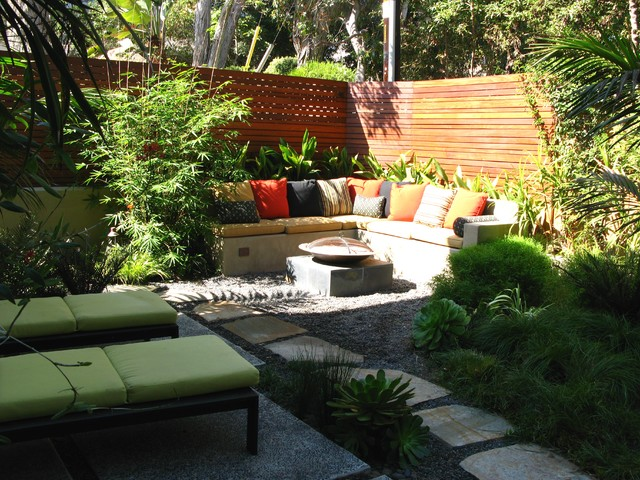 Fancy Decor For Small Yard Ideas Using L Shape Seat With Pillows