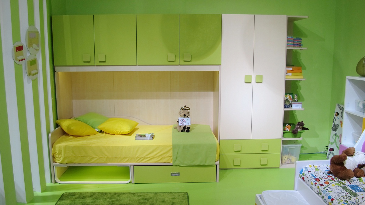 Fancy Kids Bedroom Storage Furniture With Lush Bed also Book Shelve