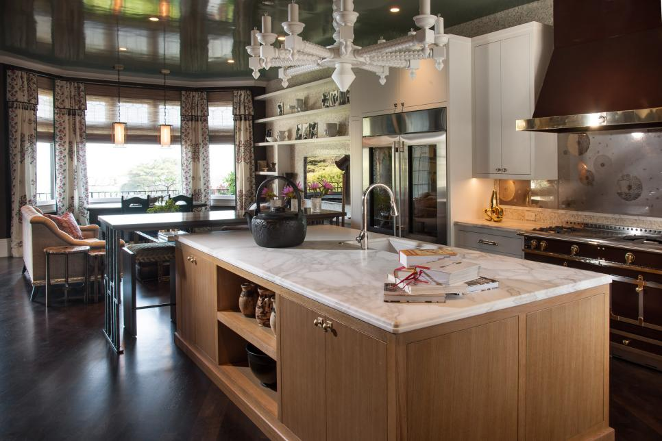 Fancy Marble Kitchen Table With Storage and Sink under Chandelier