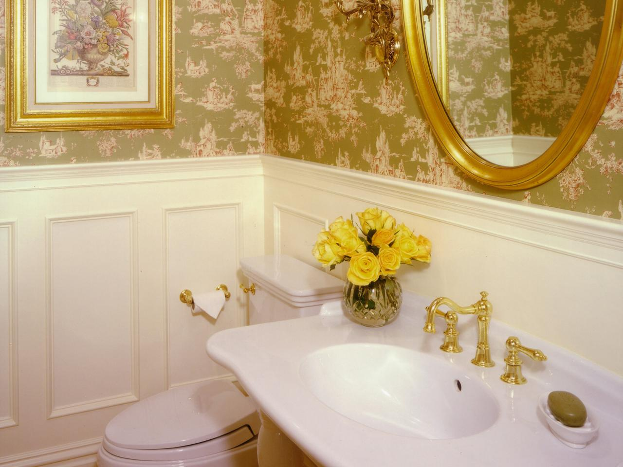 Fancy Sink and Golden Modern Faucet Plus Luring Mirrow also Beautiful Painting