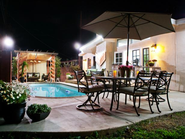 Fantastic Backyard With Pool also Dining Table Set pLus Big Umbrella