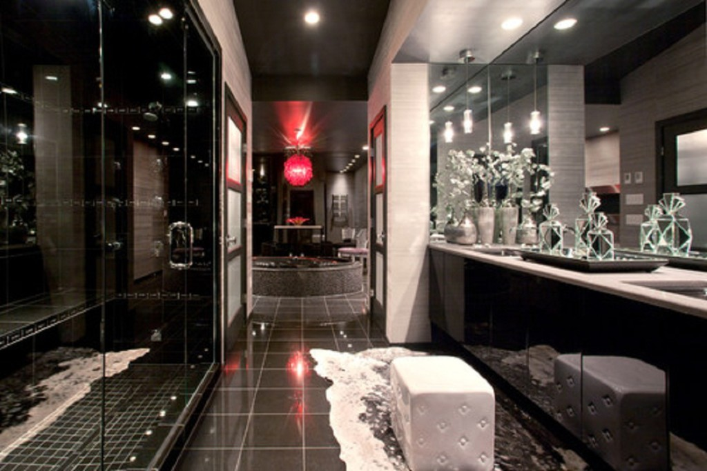 Fantastic Bathroom Layout With Bright Lighting also Dark Furniture