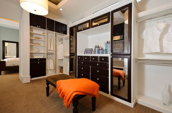 Fantastic Design Of The Closet Ideas With Brown Rugs Ideas Added With Black Wooden Cabinets Added With White Ceiling Ideas