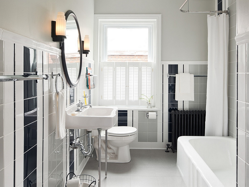 Charmant Fantastic Design Of The Gray And White Bathroom With White Tubs Added With  Black Tile Wall