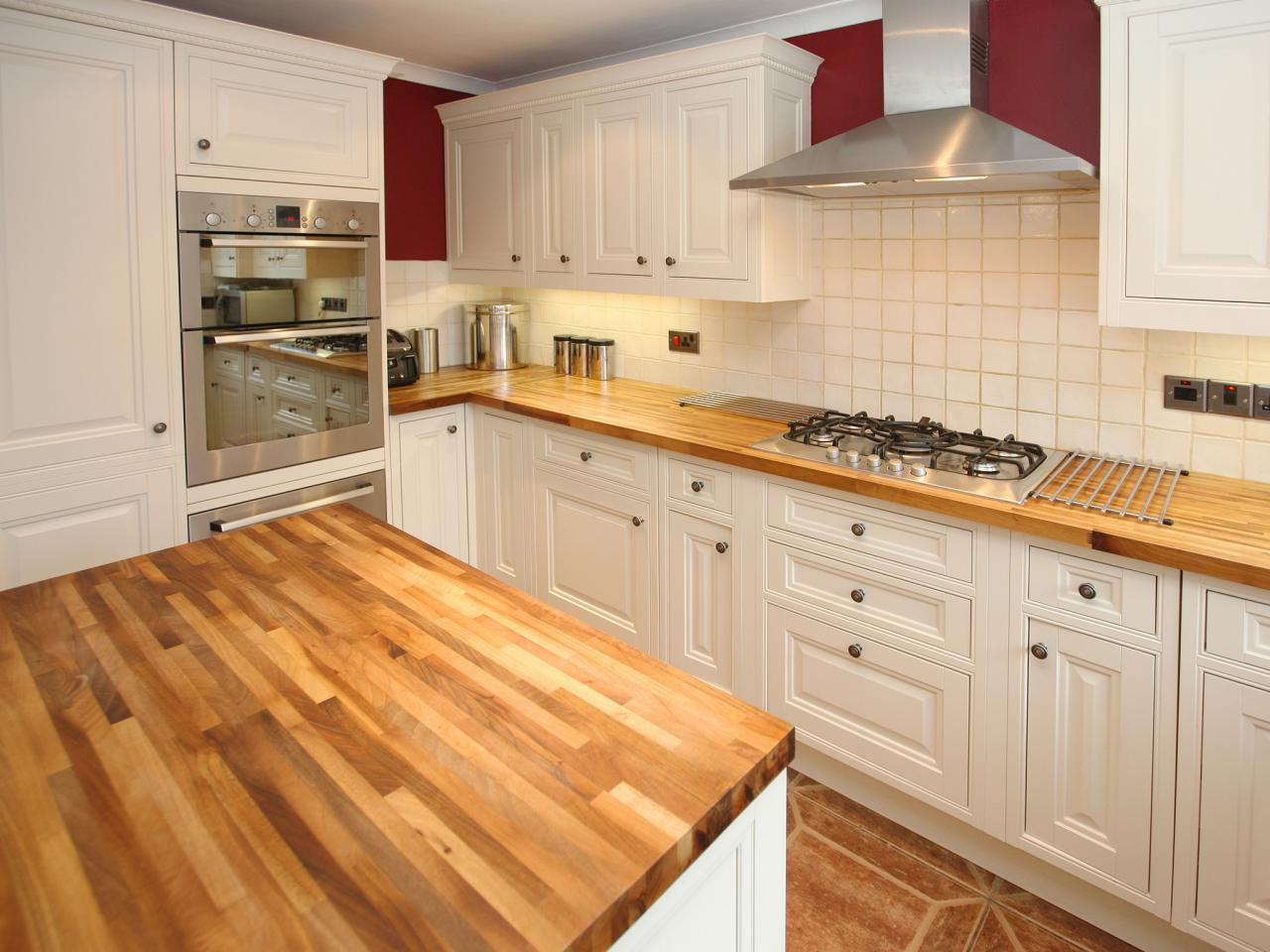 Fantastic Design Of The Kitchen Countertop Materials With White Wooden  Cabinets Added With Brown Wooden Countertops
