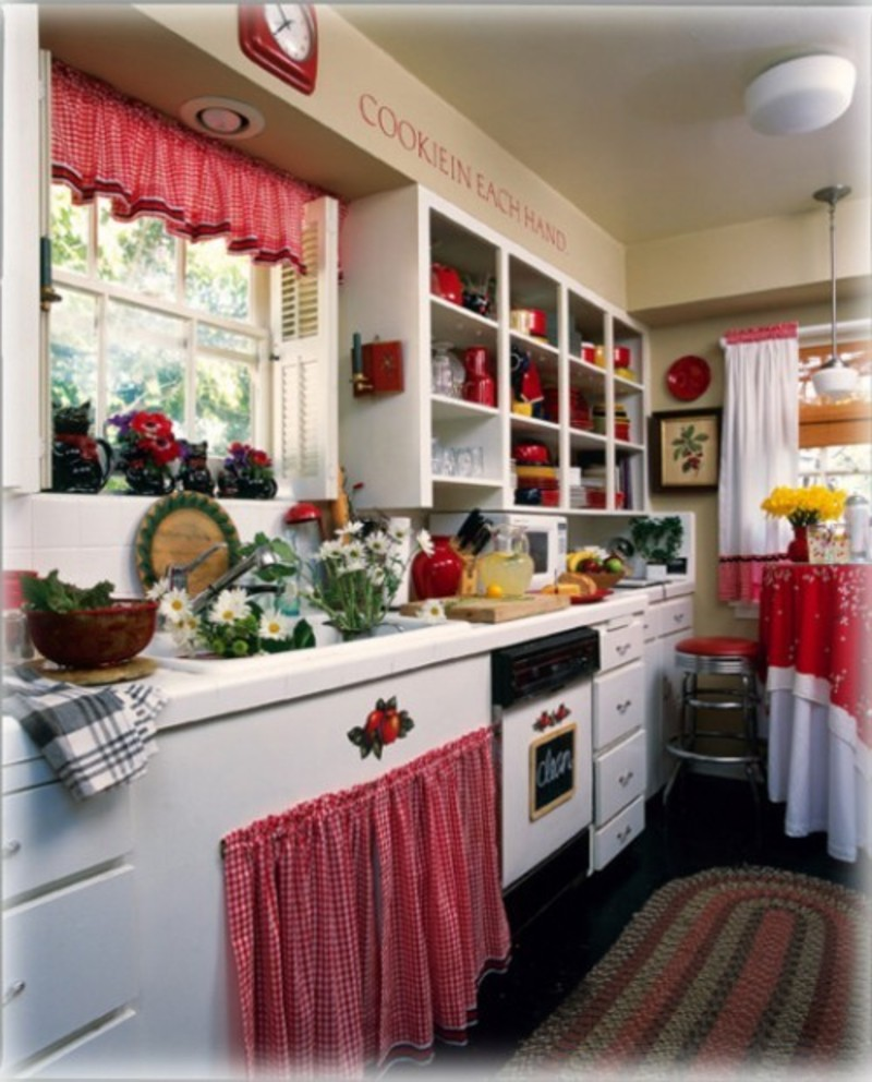 Fantastic Design Of The Kitchen Decorating Themes With White Cabinets Added With Red Curtain Ideas With