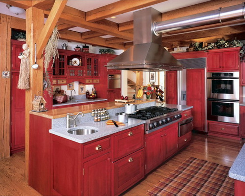Fantastic Design Of The Red Kitchen Cabinets With White Sink And Silver Stove Ideas Added With Brown Wooden Floor Ideas