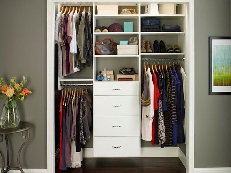 Fantastic Design Of The Small Closet Design With Grey Wall Ideas Added With Brown Wooden Floor Ideas And White Drawers
