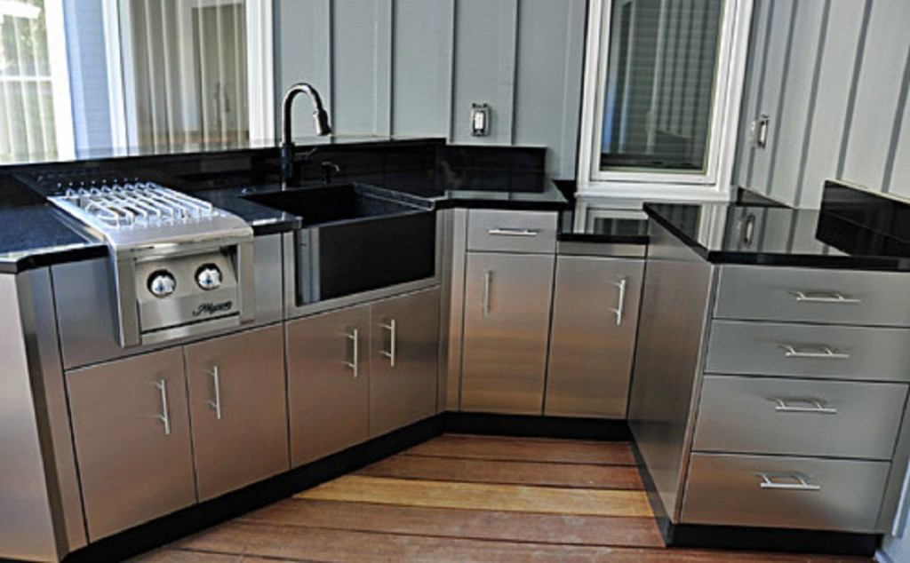 Fantastic Design Of The Stainless Steel Kitchen Cabinets With Brown Wooden Floor Ideas Added With Grey Wall Ideas And Black Countertops Ideas