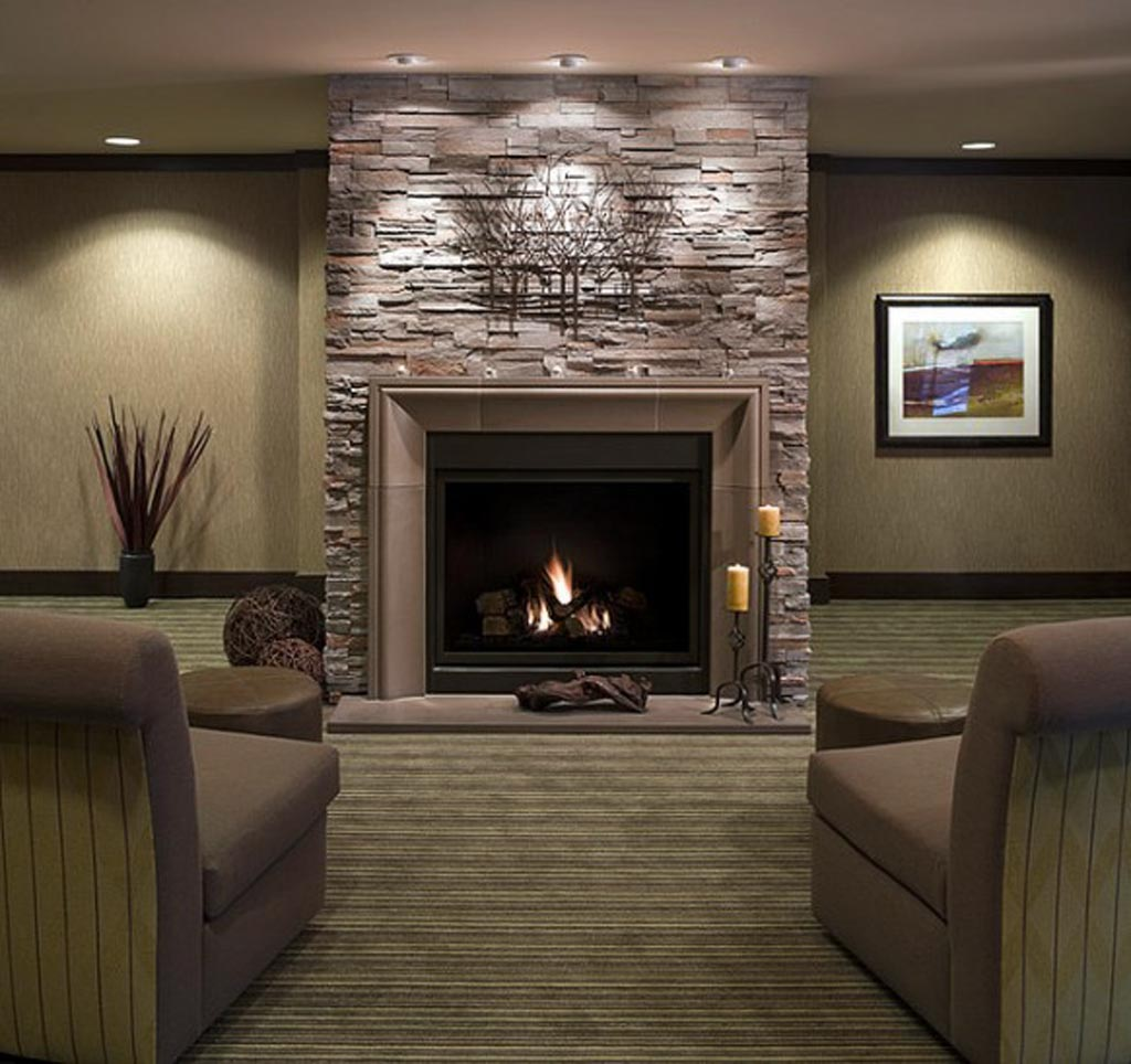 Fantastic Design Of The Stone Fireplace Surround With Grey Color Ideas  Added With Candle Place Also