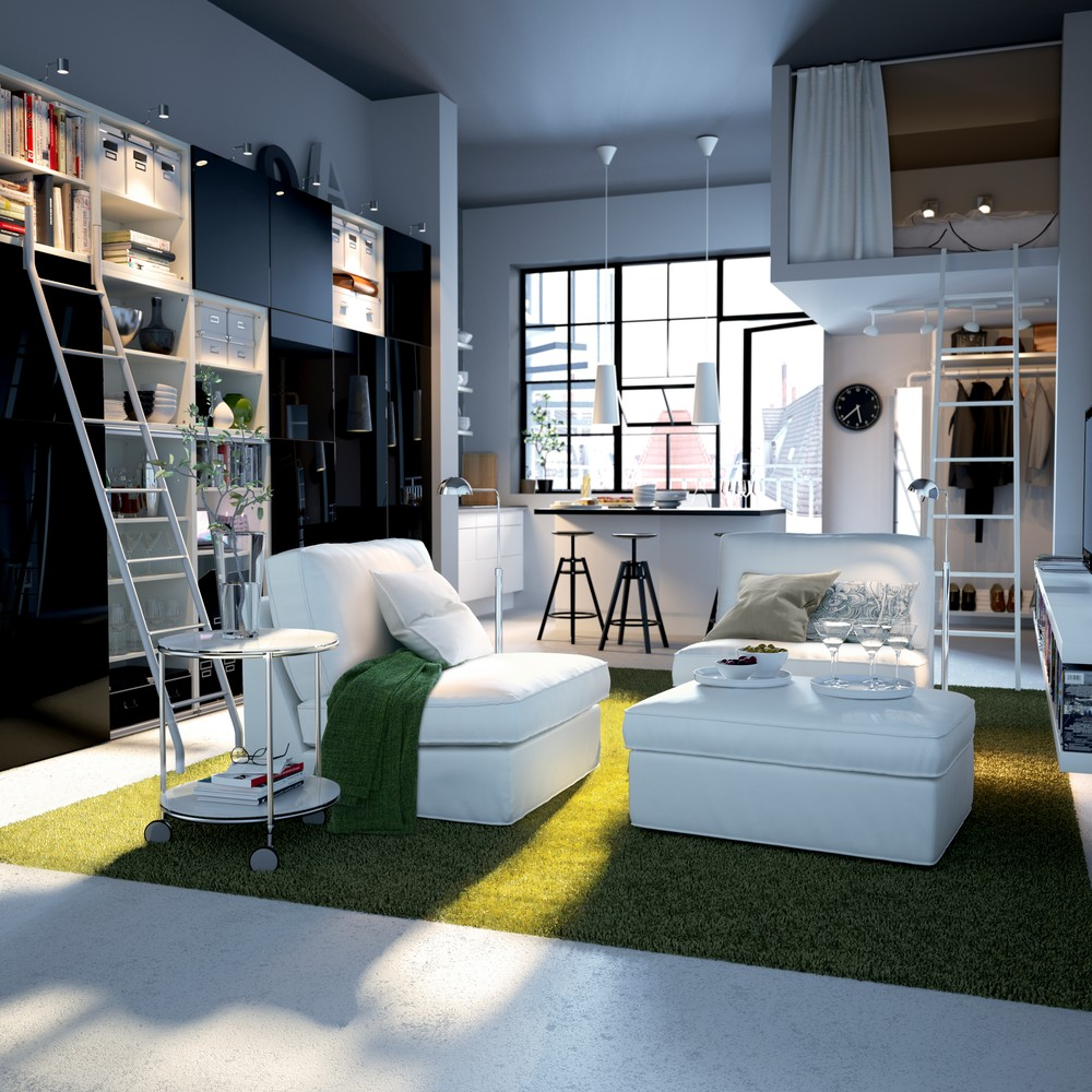 Fantastic Design Of The Studio Apartment Design With Green Rugs Ideas Added With White Fabric Sofa And Floor Ideas