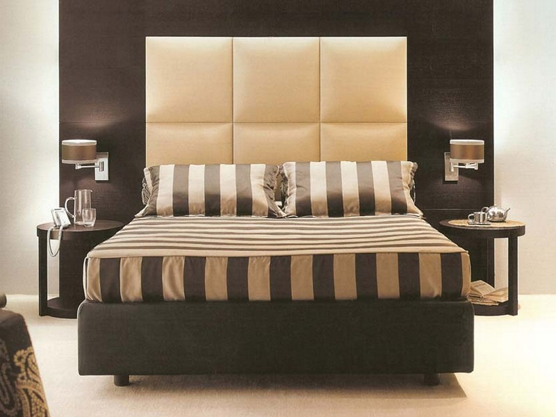 Fantastic Design Of The Wall Mounted Headboards With Black Leather Headboard Ideas Addd With Two Black Wooden Side Table Ideas