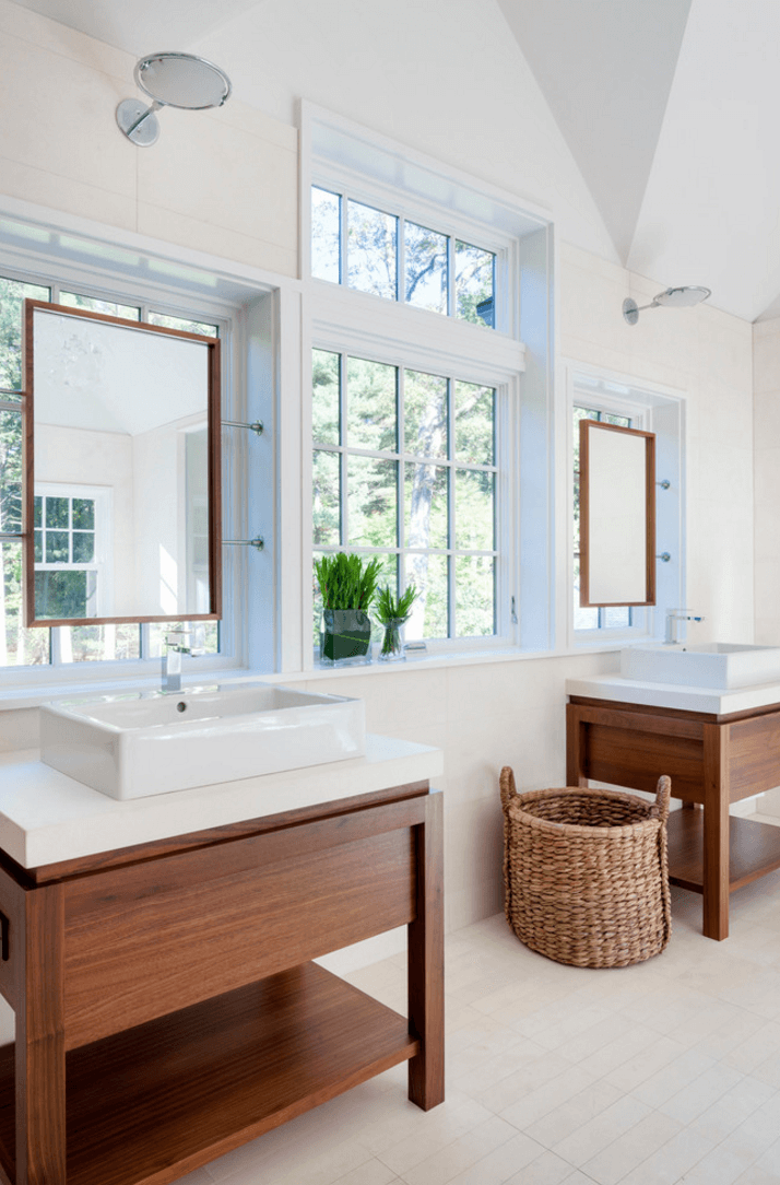Beau Fantastic Design Of The White Bathroom Mirror With Brown Wooden Cabinets  With White Sink Ideas Added