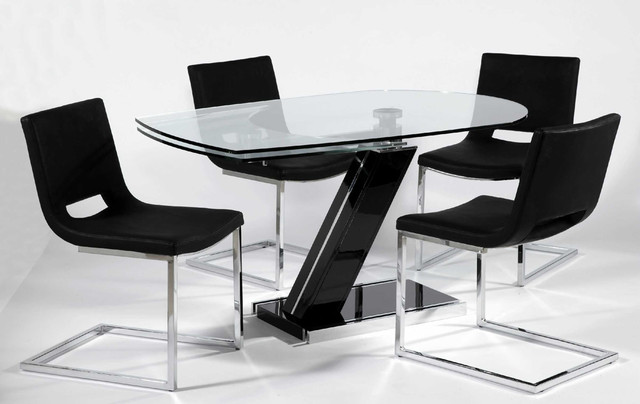 Fantastic Dining Table With Glass Top And Dark Leg also Cute Chairs