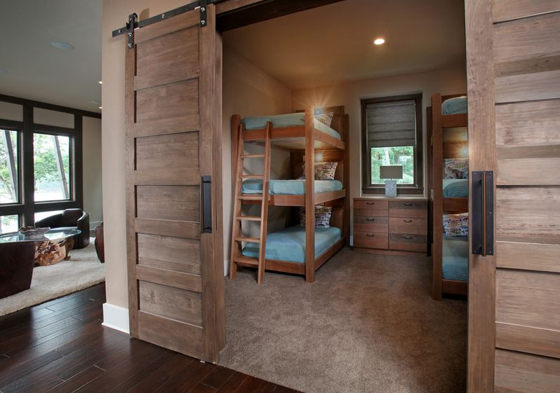 Fantastic Interior Bedroom Using Natural Wooden Custom Bunk Beds and Dresser