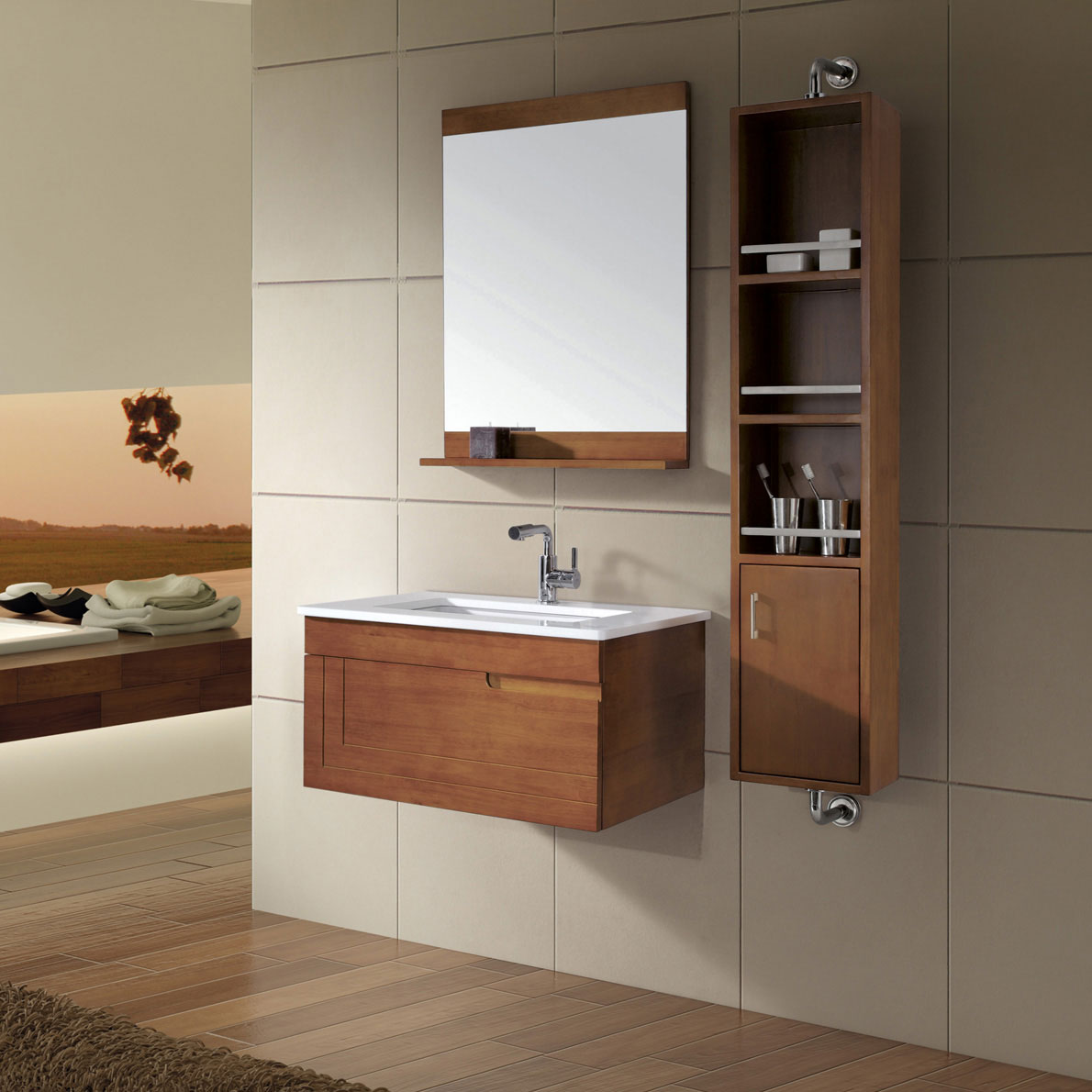 Fantastic Interior DEcor With Brown Wooden Small Bathroom Cabinet And Mirror