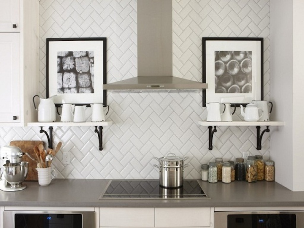 Fantastic Interior Kitchen Using Modern Cabinet and Mounted Shelves Plus White Tile Backsplash