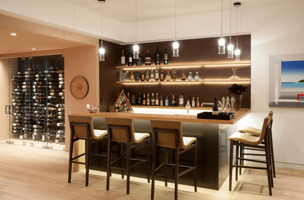 Fantastic Interior Room Using Wine Storage Cabinet Also Bar Table And Chair  Under Lighting