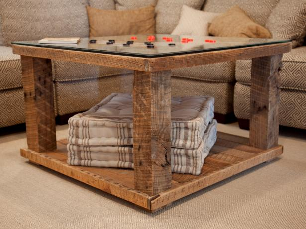 Fantastic Living Room Using Folding Table With Glass Top and Wood Legs