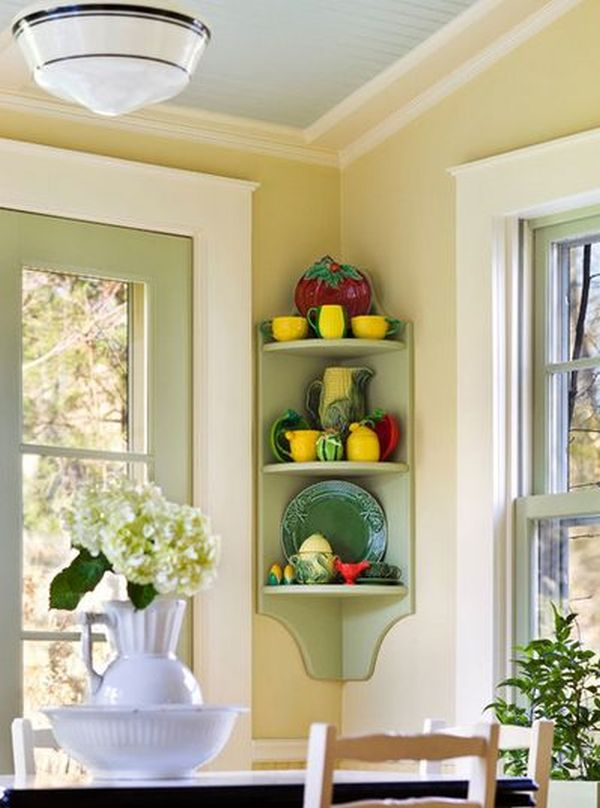 Fantastic Room Decoration With Small Corner Shelf For Glass and Plate