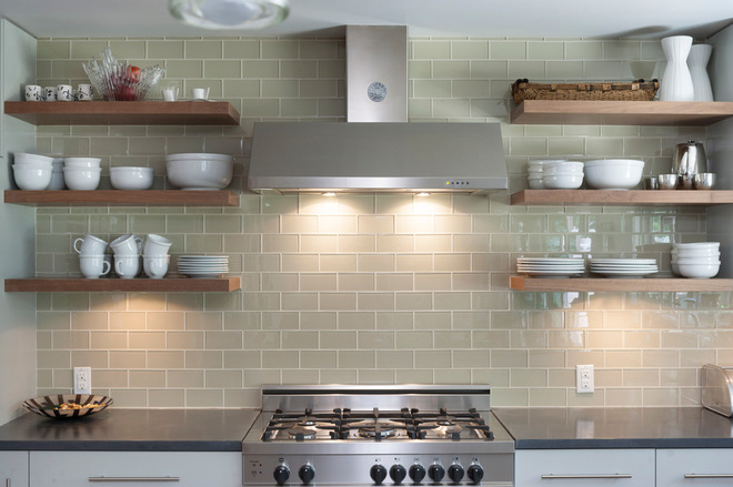Fantastic Wooden Floating Kitchen Shelves also Modern Cabinet and Stove