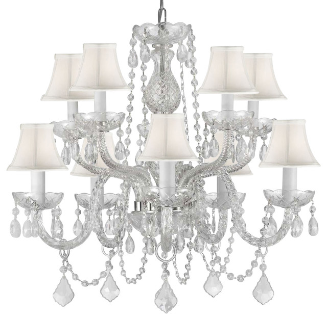 Fantatic Style Of Swarovski Crystal Chandelier Using White Bellshade Decor