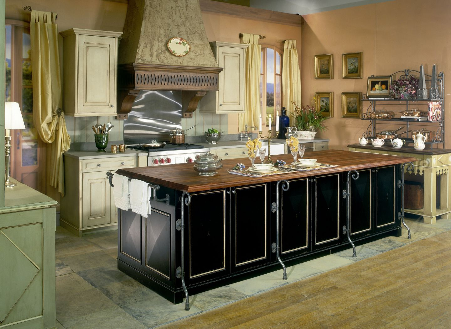 Fine Kitchen FUrniture With Black Bar Table Using Brown Wooden Top