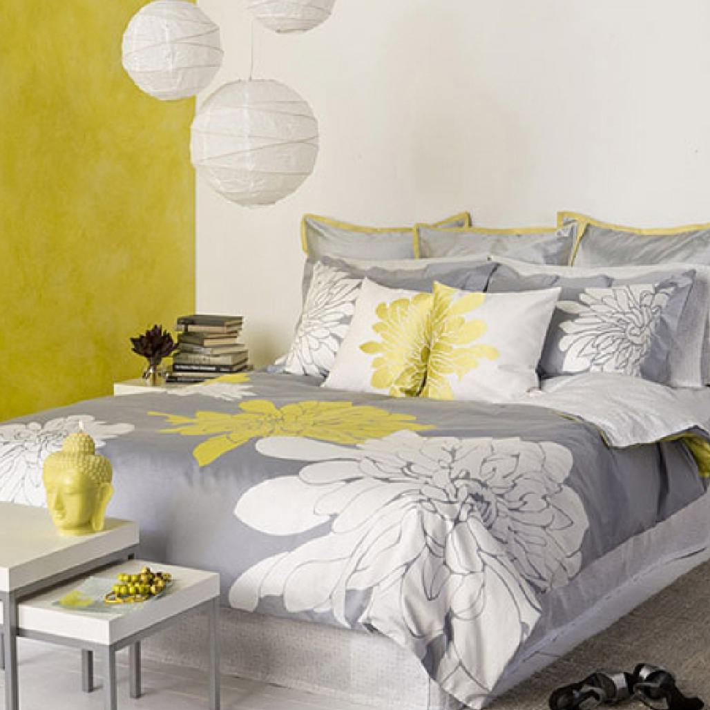 Some ideas of the stylish decorations and designs of the for Grey and yellow bedroom