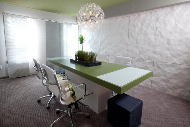 Frantic Chandelier Above Modern Conference Table Plus Lush Office Chairs