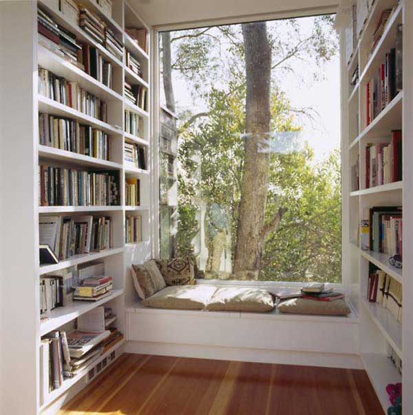 Ordinaire Frantic Office Room With Window Seat Also High Book Shelve