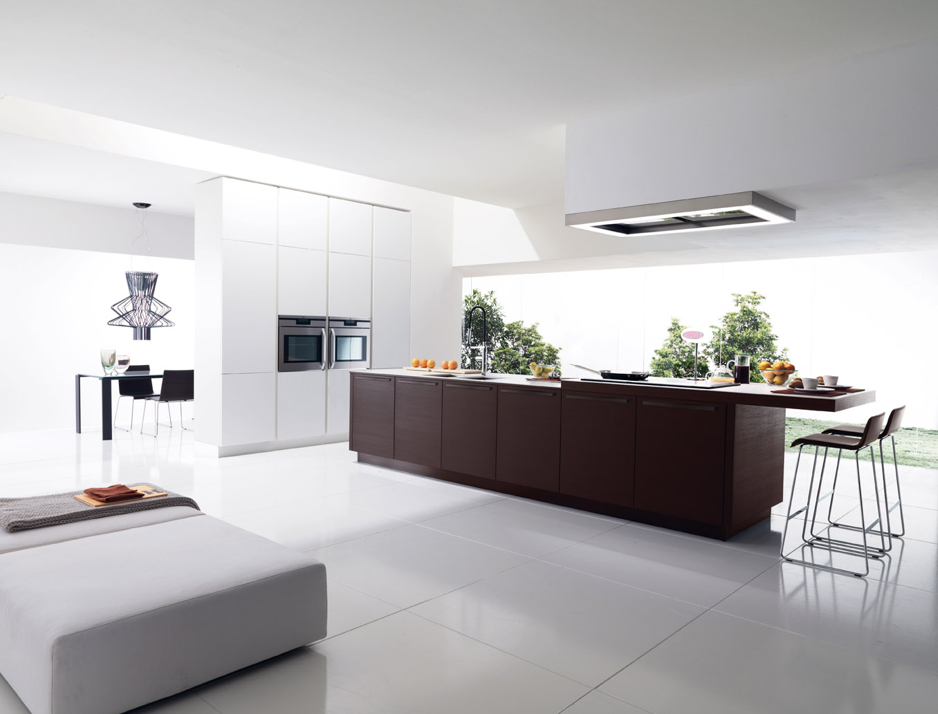 Fresh Italian Kitchen With Contemporary Cabinet and Bar Chairs
