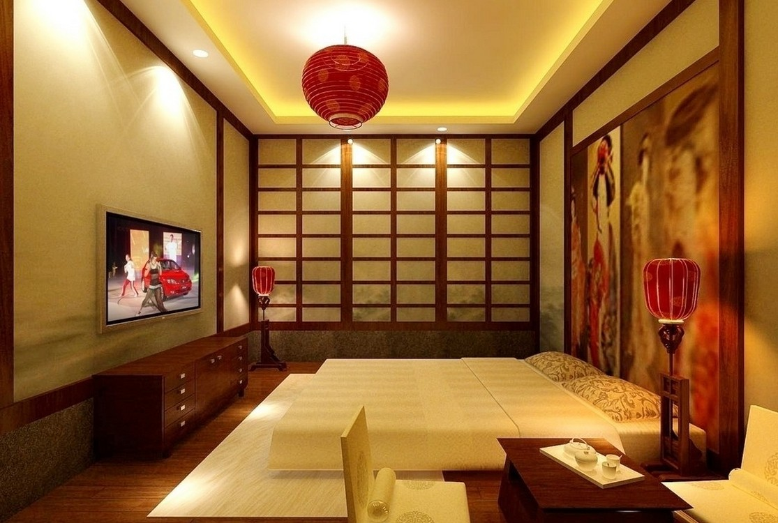 Good Bedroom Japanese Interior Design Using Red Chandelier and Lamp