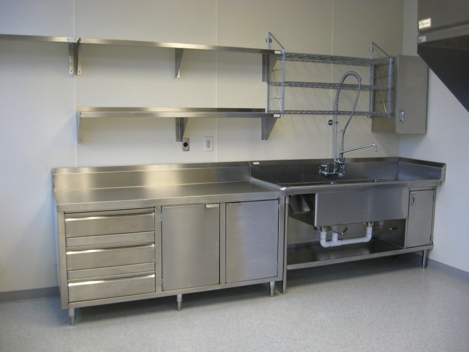 Superbe Good Design Of Stainless Steel Floating Kitchen Shelves And Cabinet