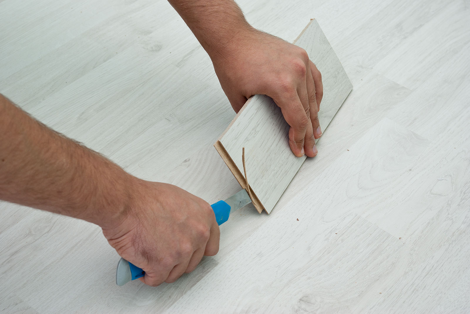Good Step For Installing Hardwood Floor Using Simple Tool Of Knive