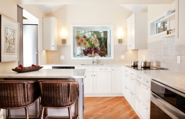 Gorgeous Kitchen With Wall Lamps also White Cabinet and Rattan CHairs