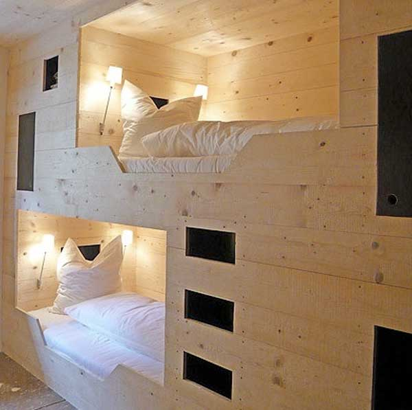 Genial Graceful Design Of Unique Bunk Beds With Bright Wall Lamps