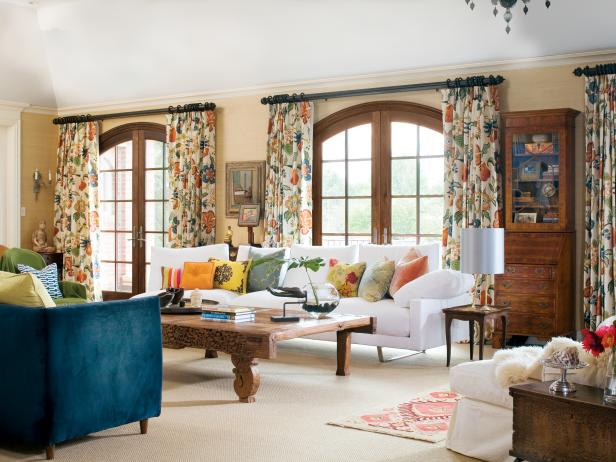 Graceful Flowery Drapes For Living Room also Wooden Coffee Table