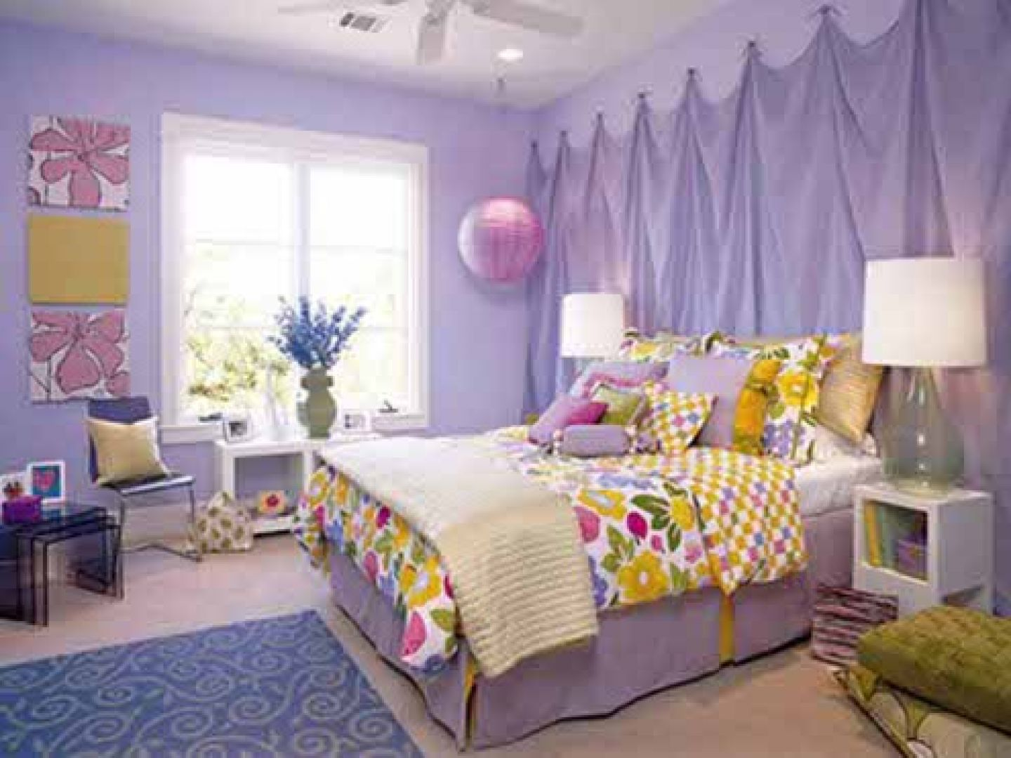 Graceful Girl Bedroom With Bed also Big Table Lamp and Flower Wall Decor