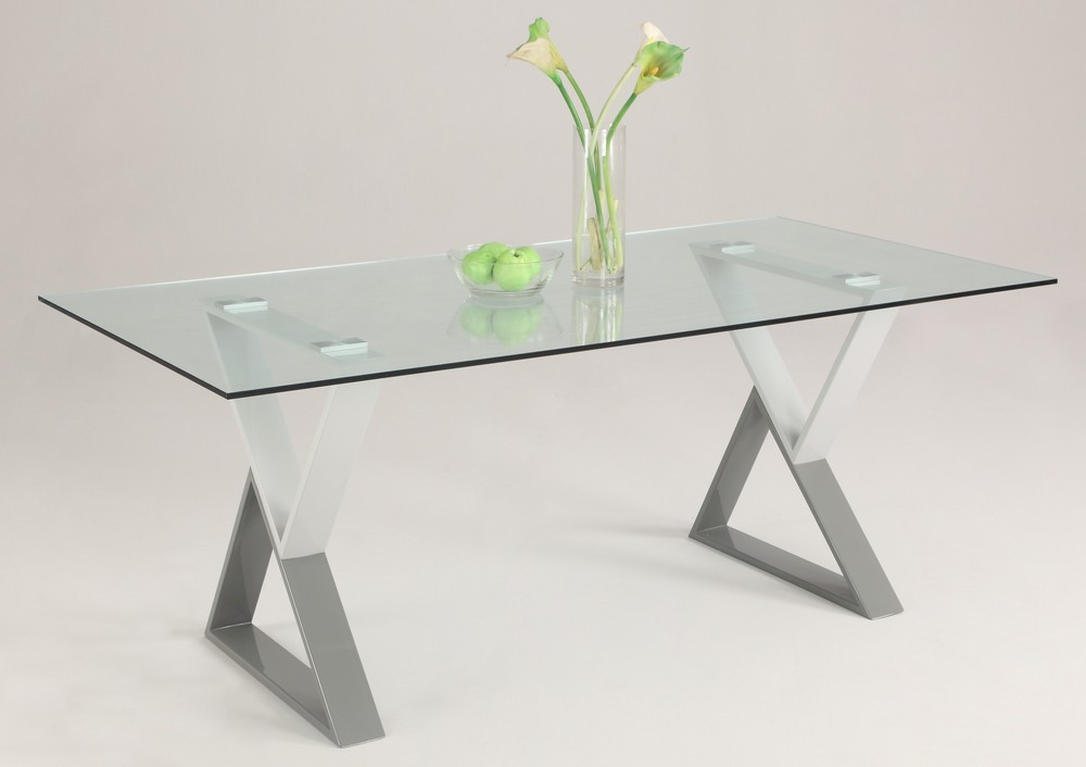 Small Rectangular Glass Dining Table Part - 38: Graceful Glass Dining Table With Rectangular Top And Chrome Legs