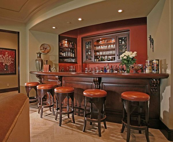 Graceful Home Bar Designs Ideas Using Wine Rack also Table