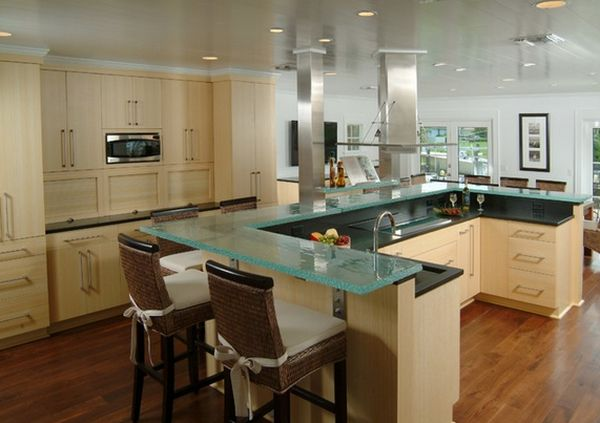 Graceful Interior Kitchen Islands With Stools Plus Cabinet Using Glass Top