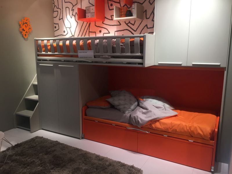 Grand Custom Bunk Beds With Ladder and Cupboard also Mounted Shelves